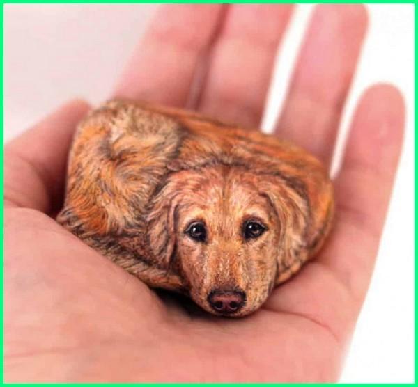 kerajinan tangan gambar hewan, lukisan hewan anjing dari bahan unik