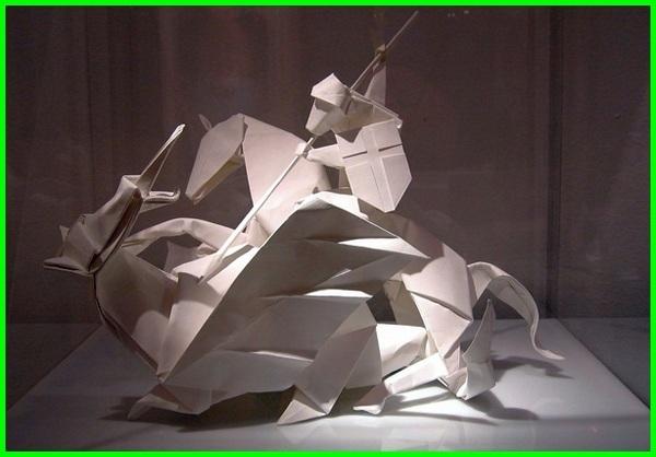 gambar origami orang, gambar orang orangan origami, gambar origami orang kuda dan naga