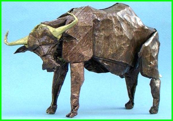 gambar origami binatang, gambar origami hewan kerbau